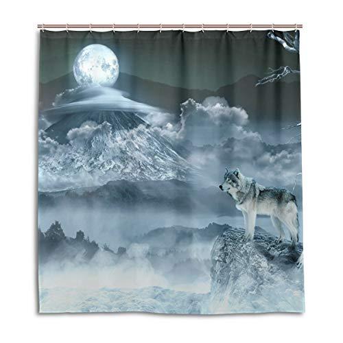 CPYang Duschvorhänge Mond Wolf Muster Wasserdicht Schimmel Resistent Bad Vorhang Badezimmer Home Decor 168 x 182 cm mit 12 Haken