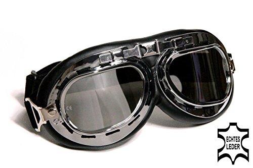 Qubeat Motorradbrille Classic, schwarz mit verspiegelten Gläsern, ECHT Leder