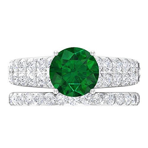Anillo solitario para novia, 3.78 piedras preciosas redondas, D-VSSI Moissanite 8 mm esmeralda, anillo cónico con piedras laterales, banda de eternidad dorada, 10K Oro blanco, Size:EU 62