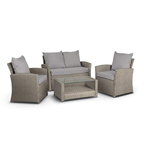 VonHaus Premium 4 Piece Rattan Sofa Set – Comfortable Cushioned Outdoor Furniture Lounge & Dining Set, Includes Sofa, Glass-topped Table & 2 Chairs for Garden & Patio – Grey