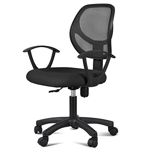 truecharms Office Chair Mesh Seat Mid Back Computer Chair with Lumbar Support Modern Desk/Task Chair with Arms/Wheels Black