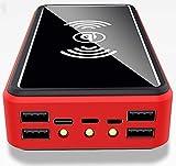 Batterie Externe Solaire 100000mAh, 5 Sorties Chargeur Solaire sans Fil, USB C Power Bank Solaire avec Lampe LED, Batterie Portable pour iPhone 12 Pro Max 11 X XS 8 Samsung S20 iPad Huawei,Rouge