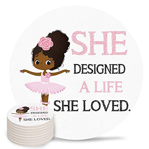 8-Piece Set Ceramic Coasters for Drinks,Cute Girl Ballerina Dancer Gymnastic Unique Absorbent Round Ceramics Cork Backed Cup Mat for Home/Housewarming Gift