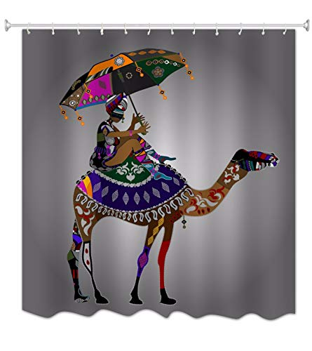 A.Monamour Chica Tradicional Africano Sentado En Camello Arte Tribal Colorido Geométrico del Arte del Diseño De Resistente A La Cortina De La Ducha De La Tela para Las Decoraciones Caseras 165x180 cm