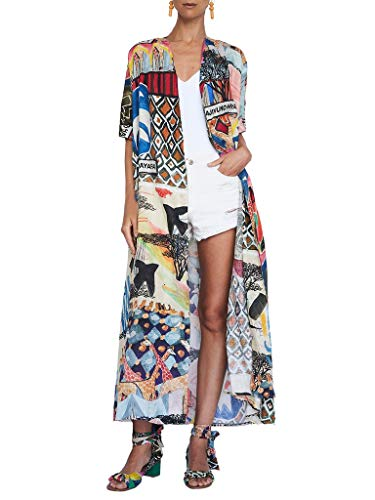 Women's Summer Long Kimono Swimsuit Cover Up Floral Print Cardigan Beach Coverups for Women (RM-9)