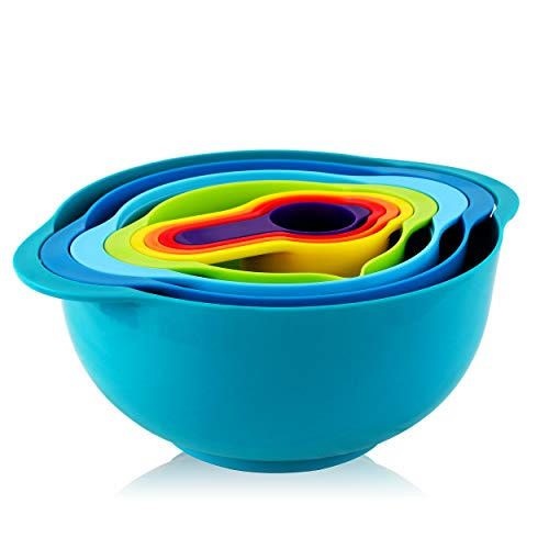 MegaChef MG-9M Multipurpose Stackable Mixing Bowl and Measuring Cup Set, 4 different sizes, Various Colors
