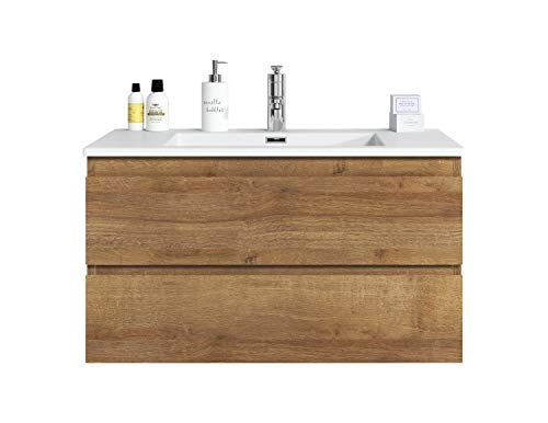 Badezimmer Badmöbel Angela 90 cm F. Oak - Unterschrank Schrank Waschbecken Waschtisch
