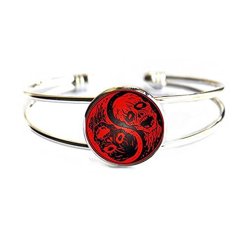 Pulsera de cadena de calavera Tai para mujer, brazalete de cabujón, brazalete de declaración para hombres, joyería de estilo chino, PU273