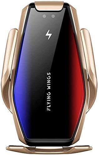 Cargador inalámbrico para coche 15W Cargador inalámbrico rápido 2 en 1 soporte de ventilación compatible con iPhone 11/11 Pro/11 Pro Max/XS/XS Max/X/8/8+, S10/S10+/Note 9/S9/S9+/S8/S8+/Note9/10,Oro