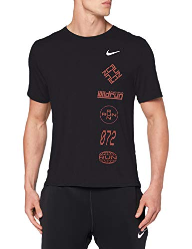 Nike Herren Df Miler Top Wr Gx T-Shirt, Black/Claystone Red/Reflective, XL