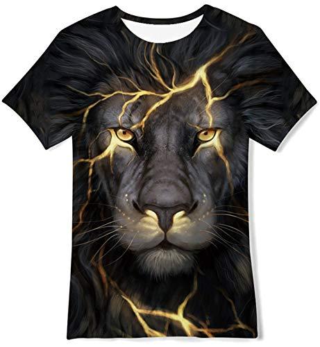 Goodstoworld 3D Camisetas Niño Niña Manga Corta Verano Gracioso T-Shirt Personalizada León Negro Camisetas Tees 6-8 Años
