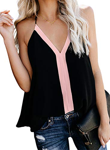 Diukia Women Summer Chiffon Sleeveless Blouse Shirts Color Block V Neck Cami Tops Spaghetti Strap Tank Tops for Girls Teens Junior Ladies Pink M