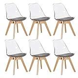 EGGREE Set di 6 Sedie Trasparente in Policarbonato Sedie Cucina Moderne Sedia da Pranzo Scandinavo con Cuscino in Tessuto e Gambe di Legno