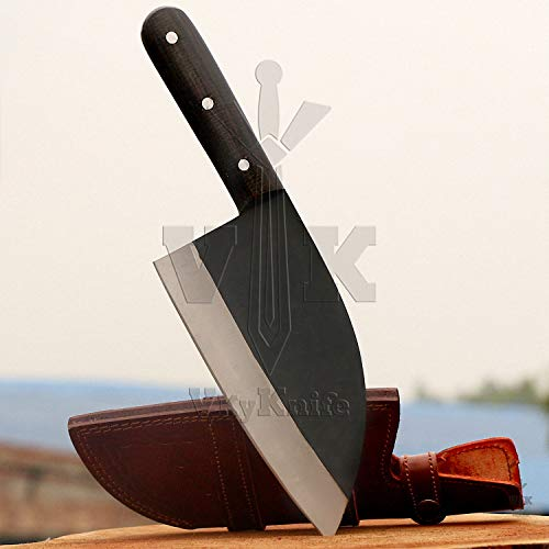Handmade Carbon Steel Serbian Bushcraft Cleaver Chopper Kitchen Chef Knife Micarta Handle comes with Leather Sheath DWA2185