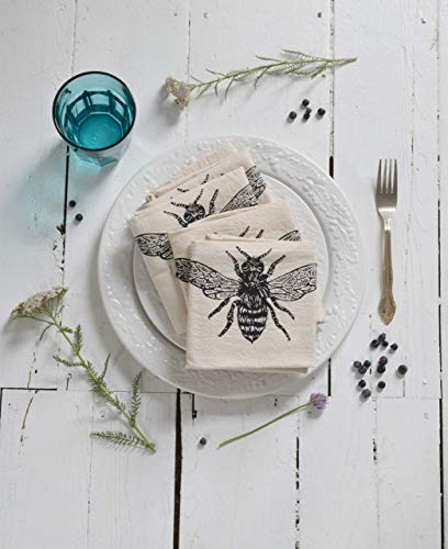 Cloth Napkins - Set of 4 - Honeybee Design in Black -...