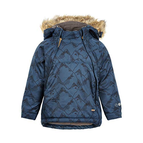 MINYMO Mini Jungen Winterjacke, Jacke mit Pelzkragen in Blue Wing, Größe:80