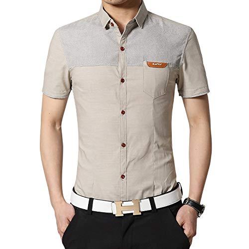 Camisas de Manga Corta para Hombre Camisas de Manga Corta Casuales de Bloqueo de Color Finas de Verano Camisas Juveniles de Talla Grande Ajustadas 5XL