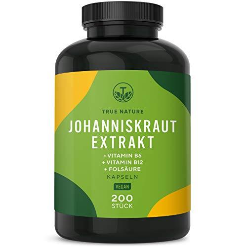 TRUE NATURE® Johanniskraut Extrakt (8:1) - 200 Kapseln - Neue Rezeptur mit Vitamin B6, B12 & Folsäure - 450mg Extrakt (entspricht 3.600mg Johanniskraut) - Vegan, Laborgeprüft, Deutsche Produktion