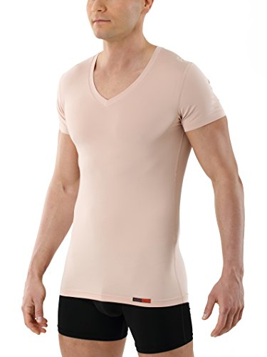 ALBERT KREUZ Camiseta Interior Invisible para Hombre de Tejido técnico algodón-Coolmax® – antisudor, Piel Seca – de Manga Corta y con Cuello de Pico – Color Piel M