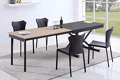 Table Basse relevable 3 allonges Vivaldi Gris 2m55 14 Couverts