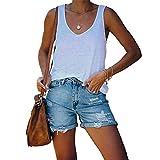 Women's Rolled Hem Ripped Denim Shorts High Waist Distressed Mini Hot Short Pants Summer Frayed Raw Hem Jeans Shorts (Light Blue,Medium)