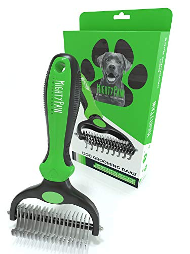 Mighty Paw Dog Grooming Rake | Dematting Pet Comb with Dual-Sided Stainless Steel Rounded Teeth. Safe Tool for Detangling, Thinning, & Deshedding All Hair Types. Ergonomic Handle for Comfort (Green)