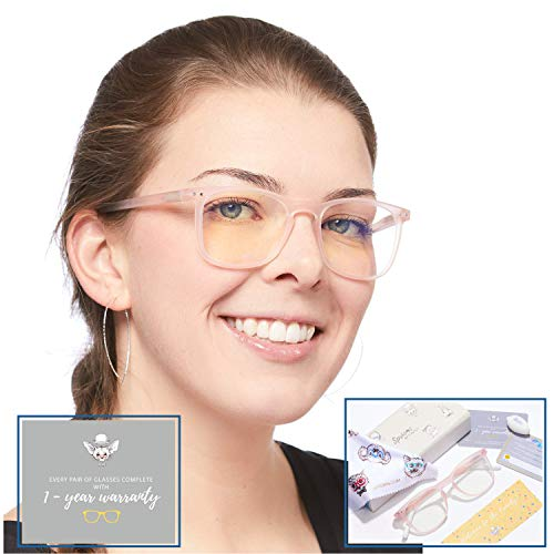 Blue Light Blocking Glasses for Women by Tintly - Blue Light Glasses for Sleep, Headaches, Eye Strain - Computer Glasses, Gaming Glasses - Fake Glasses, Pink - No Slip Texture, Spring Hinge - Best Fit