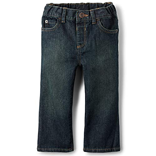 The Children's Place Boys' Baby and Toddler Basic Bootcut Jeans, Dry Indigo, 6-9 Months