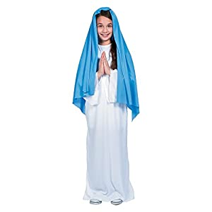 Fun Express Girl's Blue & White Mary Costume - Kid's Large/Extra Large - 2 Pieces