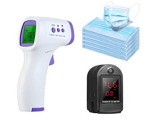 Anself 1PC Tester della Punta delle Dita a Lettura Rapida + 1PC Misurazione Digitale Portatile della Temperatura della Fronte + 50 PCS Cover