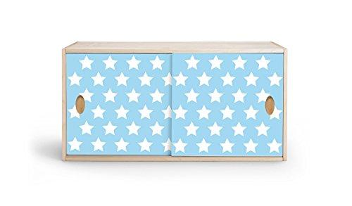 Estantería con puertas correderas de abedul multiplex con chapa de madera auténtica para armario, habitación de los niños, muebles infantiles (estrellas azul claro)