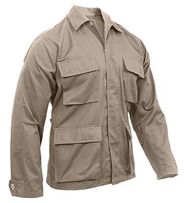 Rothco Solid BDU (Battle Dress Uniform) Military Shirts, Khaki, L
