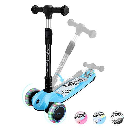 YOLEO Kinder Roller Kinderscooter Dreiradscooter mit LED Räder, 2-Rädern Hinterbremsen, 4 Höhenverstellbare, faltbarem Lenker, bis 50kg belastbar, für Kinder Mädchen Jungen ab 3 Jahre(Blau)