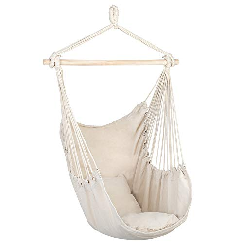 Minelody Hanging Chair, Hammock Rope Swing Quality Cotton Weave Distinctive Cotton Canvas Hanging Rope Chair with Pillows Beige