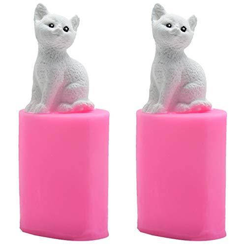 Moule à Bougie pour Petit Chat Moule pour Aromathérapie Plâtre Lot de 2 moules en silicone 3D Moule en Silicone pour Bougies en Forme pour fabriquer des savons chocolat et des bougies artisanaux (Rose