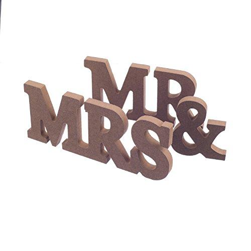 Sr. Y Sra Letras De Madera Mesa De Boda De La Tapa...