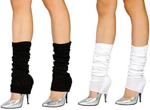 SUNTRADE 2 Pair Leg Warmers Women Girls Boots Cuff Warmer Ribbed Stretch Knee Leg Socks Black product image