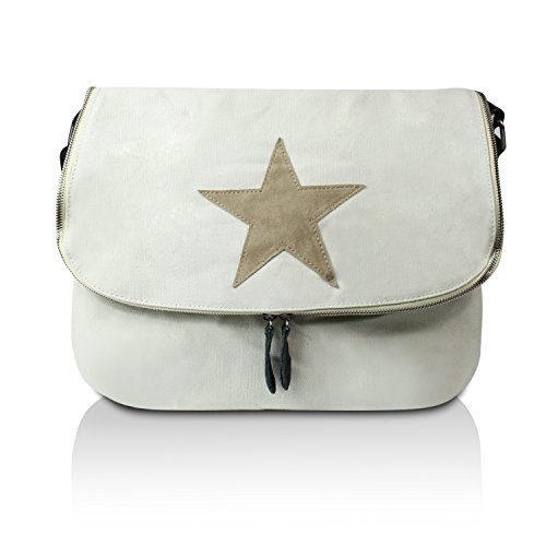 Glamexx24 Canvas tas handtassen schoudertas schoudertas met ster patroon tote tas