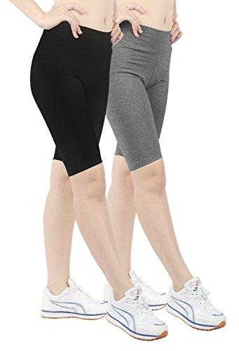 iloveSIA 2PACK Women's Tight Yoga Workout Short Legging US Size XL Black+Grey