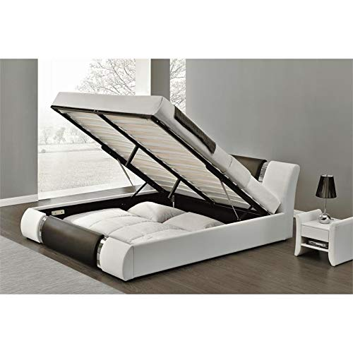 Kingway Furniture Zender Storage Platform Queen Bed in Black and White