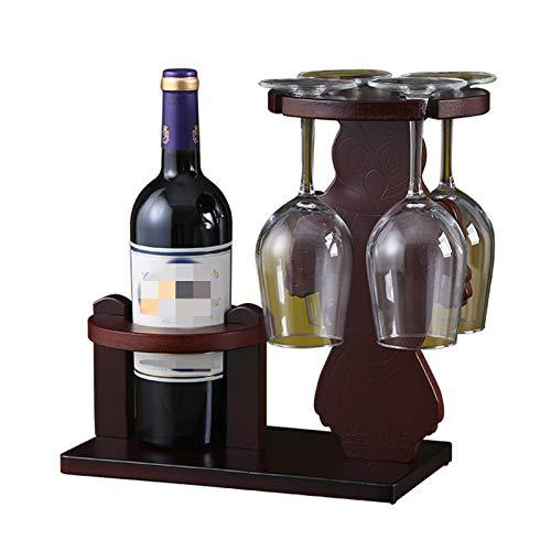 JTRHD Botellero para Vino Titular de la Botella de Vino de Madera Maciza Copa de Vidrio Decoración de la Copa Estante Cocina Cocina Soporte Creativo para Armario/Armario/encimera