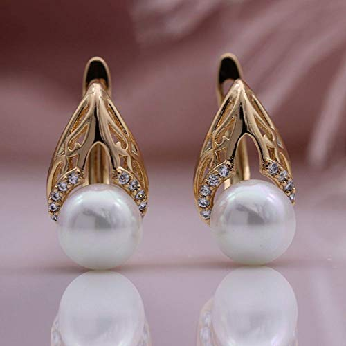 CHQSMZ Earring New Water Drop Shape Dangle Earrings 585 Rose Gold Natural Zircon White Shell Pearl Women Earrings Fine Fashion Jewelry