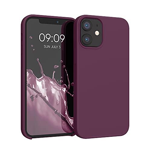 kwmobile Hülle kompatibel mit Apple iPhone 12 Mini - Hülle Silikon gummiert - Handyhülle - Handy Hülle in Bordeaux Violett