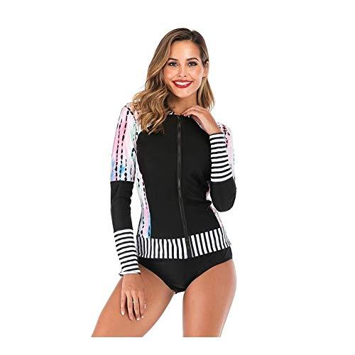 BHJqsy Costume da Bagno, Vestito di Surf, a Maniche Lunghe avventate Sport Protezione di Navigazione Superiore Protezione UV delle Donne Costumi da Bagno Costumi da Bagno Due Pezzi (Size : M)