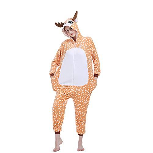 Vaomts Adult Reindeer Costume for Halloween Women/Men Deer Onesie Fleece Animal Novelty One Piece Pajama Sleepwear Party Cosplay, Yellow, Medium