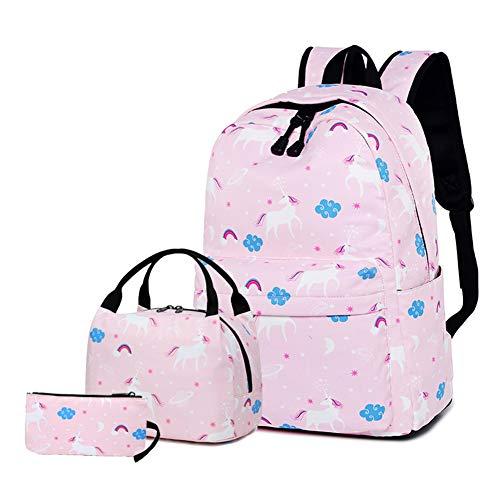Zokrintz School Backpack for Teens Girls Bookbag Cute Unicorn School Bag Set with Lunch Bag and Pencil Case