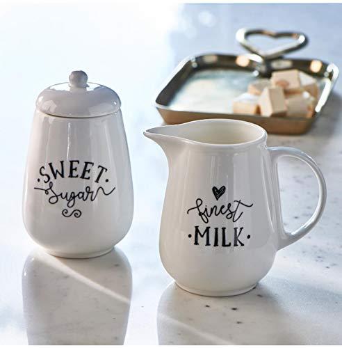 Riviera Maison - Finest Milk & Sugar Set - Porzellan - Weiss/Schwarze Schrift - (BxHxL) 8 x 11 x 12,5cm