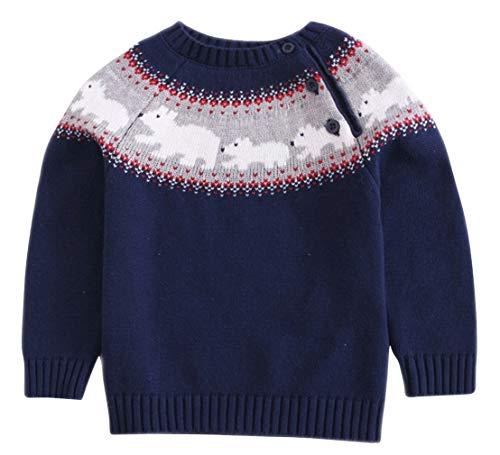 EOZY Unisex Kinder Langarm Pullover Kleinkind Winter Strickpullover Strickpulli (Größe 100, Dunkelblau-1)