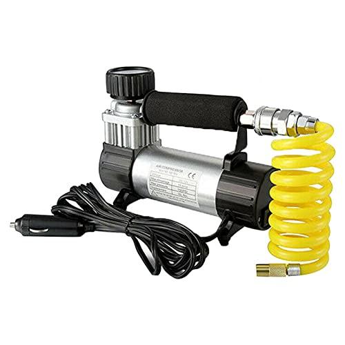 SDFLKAE DC 12V Portable Car Tire Inflator Pump 140 PSI Compresor de aire al aire libre Presión (negro)