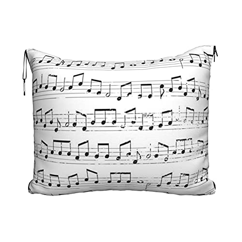 Manta de viaje y almohada, juego de almohada y manta de viaje, manta de viaje compacta, suave, 2 en 1, notas musicales repetidas